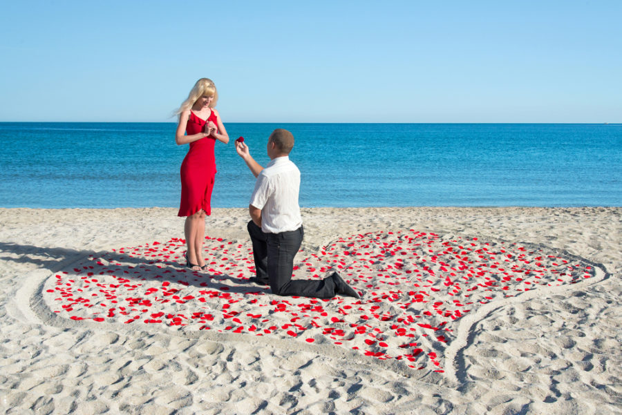 海辺でプロポーズする様子